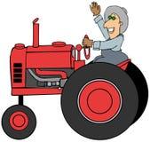 驾驶一台老拖拉机的农夫 向量例证