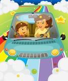 驾驶与她的女儿的母亲 免版税库存照片