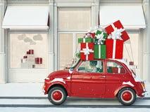 驾驶与黑和红色礼物在圣诞节前 3d翻译 免版税库存图片