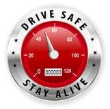 驾驶保险柜并且停留活象或标志-安全驾驶的概念传染媒介 免版税库存图片