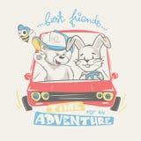驾驶冒险,孩子服装的印刷品设计的女用连杉衬裤和兔宝宝 库存照片
