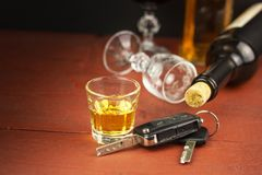 驾驶受酒精的影响 危险乘驾 在轮子后的酒精 酒后开车 免版税库存图片
