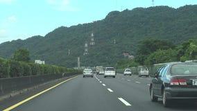 驾驶向北的台湾,POV,4K的高速公路 股票视频