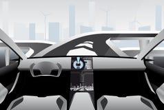 驾驶在一条高科技路的未来派自已汽车 免版税库存照片
