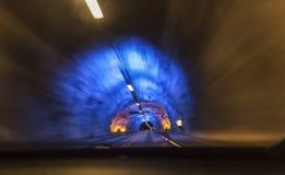 驾驶在世界` s最长的隧道 图库摄影