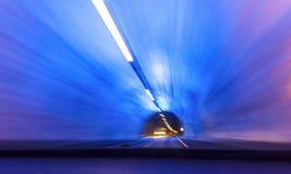 驾驶在世界` s最长的隧道 库存照片