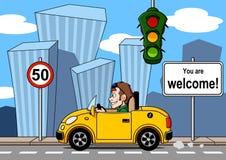 驾驶在城市 免版税库存照片
