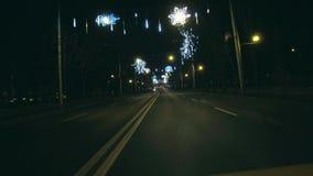 驾驶在大道在圣诞节 股票录像