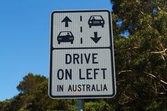 驾驶在左标志 免版税库存图片