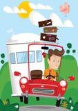 驾驶在度假的人 向量例证