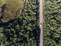 驾驶在有湖的路不尽的杉树森林的美丽的加拿大露营车公共汽车停泊土地鸟瞰图旅行背景 库存图片