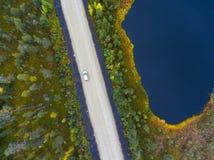 驾驶在沼泽和小湖,卡累利阿中的客车表土路,在俄罗斯北部 免版税图库摄影