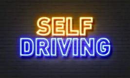 驾驶在砖墙背景的自已霓虹灯广告 向量例证