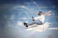 驾驶在网际空间里面的孩子小飞机 免版税库存照片
