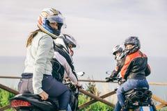 驾驶在自然的两辆摩托车 库存图片