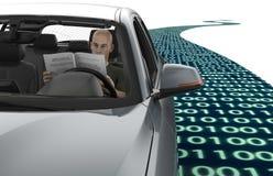 驾驶在路的自已电子计算机汽车 库存图片