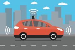 驾驶在路,在城市背景的现代红色汽车的自已汽车 皇族释放例证