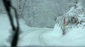 驾驶在通过森林的多雪的乡下公路在双方 股票录像