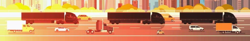 驾驶在高速公路路有汽车的,在城市背景交付货物概念的卡车的线的大半卡车拖车 向量例证