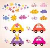 驾驶汽车只适合于小孩的事物的逗人喜爱的动物设计元素集 免版税库存照片