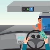驾驶汽车和显示汽车支付的人的手 免版税图库摄影