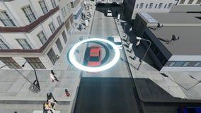 驾驶自动驾驶仪自治汽车的空中寄生虫射击自已 向量例证