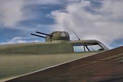 驾驶舱和炮塔在B-17飞行堡垒 免版税库存图片