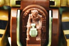 驾驶舱场面的微型式样飞行员 库存图片