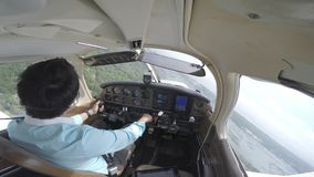 从驾驶舱的小平面着陆 股票录像