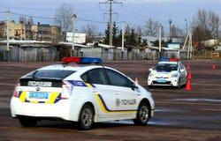 驾驶警察的极端路线 库存图片