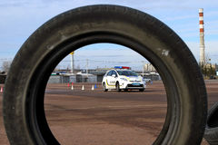 驾驶警察的极端路线 免版税库存照片