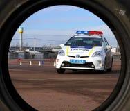 驾驶警察的极端路线 免版税图库摄影