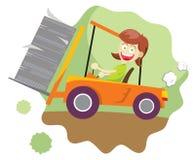 驾驶铲车的女孩 库存照片