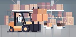 驾驶铲车装载者码垛车仓库机器人汽车小包箱子交付后勤运输概念的人工业 库存例证