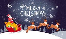 驾驶雪橇的圣诞老人 圣诞节假日与圣诞老人项目和驯鹿雪冬天不可思议的蓝色风景卡片的夜卡片 向量例证
