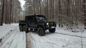 驾驶SUV 6x6由越野在冬天森林里,正面图权利 股票录像