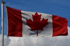 骄傲地挥动反对天空蔚蓝的加拿大和英国哥伦比亚旗子 库存照片