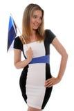 骄傲爱沙尼亚语的女孩 库存照片