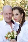 骄傲的父亲和新娘 库存照片