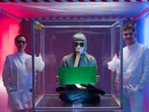 骄傲的科学家和他们的人类主题 图库摄影