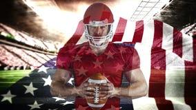 骄傲的美国橄榄球球员身分的数字动画与球的在体育场内 股票录像