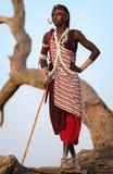 骄傲的Maasai战士在Loitoktok,肯尼亚 免版税库存照片