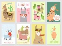 骆马卡片 小骆马逗人喜爱的羊魄和仙人掌野生喇嘛 秘鲁骆驼,女孩党邀请传染媒介集合 向量例证