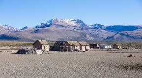 骆马的牧羊人小村庄在安地斯山的山的  免版税库存照片
