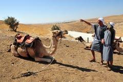 骆驼乘驾和沙漠活动在Judean沙漠以色列 图库摄影
