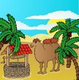 骆驼和井 免版税库存照片