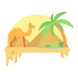 骆驼在一片绿洲附近在吉萨棉的金字塔的背景中站立 库存照片
