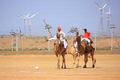 骆驼在沙漠节日期间的马球比赛, Jaisalmer,印度 库存图片