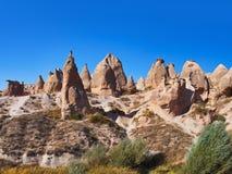 骆驼岩石全景在Cappadocia土耳其的 免版税库存照片