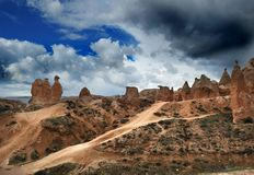 骆驼岩石在卡帕多细亚,中央土耳其 免版税库存照片